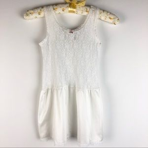 Vintage 80s White Lace Nylon Girls Slip